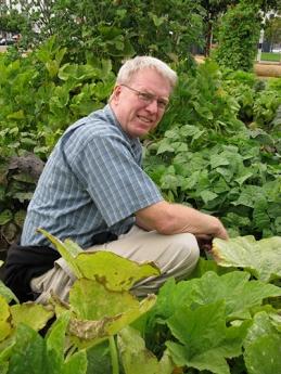Instructor and author Stephen Albert in his garden