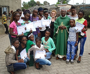 Stasi with girls from her school in Congo
