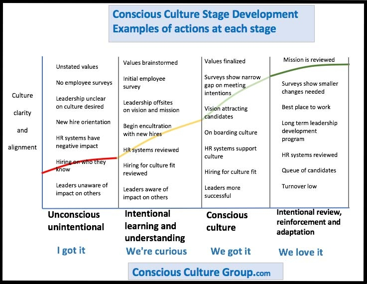 Detail chart of business stages to a conscious culture