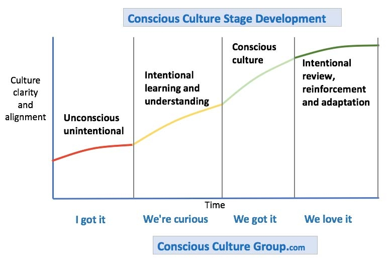 chart representation of four stages leading to a conscious culture company
